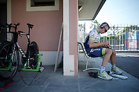 Brett Lancaster (AUS/Orica-GreenEDGE) fitting his new shoes at the team hotel prior to the first stage of the 2015 Giro d'Italia