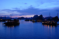 , Vietnam - 2007 File Photo -<br /> <br /> cruise boats at night on Ha Long Bay. <br /> <br /> <br /> <br /> <br /> photo : James Wong-  Images Distribution