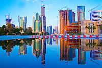 Reflected in rare rain waters, Downtown Doha, Qatar, Arabian Pennisula  Persian Gulf