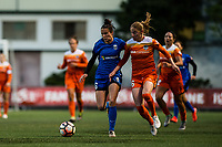 Seattle, Washington -  Saturday April 22, 2017: Carson Pickett and Janine Beckie during a regular season National Women's Soccer League (NWSL) match between the Seattle Reign FC and the Houston Dash at Memorial Stadium.