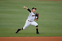 Bradenton Marauders second baseman Logan Ratledge (2) throws to first base during the second game of a doubleheader against the Tampa Yankees on June 14, 2017 at LECOM Park in Bradenton, Florida.  Tampa defeated Bradenton 5-1.  (Mike Janes/Four Seam Images)