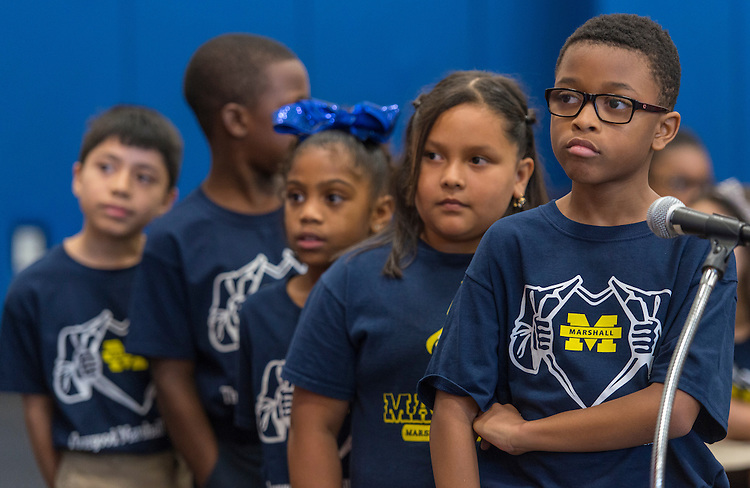 Students ask questions during a stop of the Listen & Learn tour at Marshall Elementary School, September 20, 2016.
