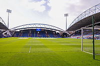 The goal with Huddersfield Town's  South stand in the background during the EPL - Premier League match between Huddersfield Town and Crystal Palace at the John Smith's Stadium, Huddersfield, England on 17 March 2018. Photo by Stephen Buckley / PRiME Media Images.