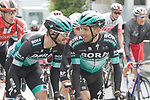 Bora-Hansgrohe riders cross the finish line at the end of Stage 2 of the Criterium du Dauphine 2019, running 180km from Mauriac to Craponne-sur-Arzon, France. 9th June 2019<br /> Picture: Colin Flockton | Cyclefile<br /> All photos usage must carry mandatory copyright credit (© Cyclefile | Colin Flockton)