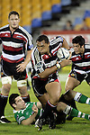 Sekope Kepu makes a charge upflield during the Air New Zealand rugby game between Counties Manukau Steelers & Manawatu, played at Mt Smart Stadium on the 22nd of September 2006. Counties Manukau 25 - Manawatu 25.
