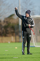 SWANSEA, WALES - FEBRUARY 17: Garry Monk, Manager of Swansea City takes  a training session at the Fairwood training ground on February 17, 2015 in Swansea, Wales.  (Photo by Athena Pictures )
