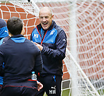 Rangers manager Mark Warburton laughing with Britain's top goalscorer at training
