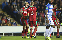 Alfie Mawson of Swansea City celebrates scoring his sides first goal of the match with Mike van der Hoorn during the Carabao Cup Third Round match between Reading and Swansea City at Madejski Stadium, Reading, England, UK. Tuesday 19 September 2017