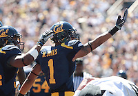 Marvin Jones acknowledges the fans after his touchdown. The California Golden Bears defeated the Colorado Buffaloes 52-7 at Memorial Stadium in Berkeley, California on September 11th, 2010.