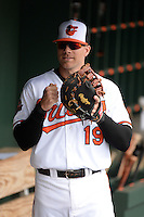 Baltimore Orioles first baseman Chris Davis (19) before a spring training game against the Philadelphia Phillies on March 7, 2014 at Ed Smith Stadium in Sarasota, Florida.  Baltimore defeated Philadelphia 15-4.  (Mike Janes/Four Seam Images)