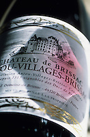 Europe/France/Pays de la Loire/Maine-et-Loire/Brissac : Le château - Détail étiquette du vin du château AOC Anjou Village Brissac