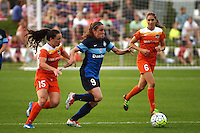 Kansas City, MO - Saturday May 07, 2016: FC Kansas City midfielder Heather O'Reilly (9) against Houston Dash defender Allysha Chapman (15) and midfielder Morgan Brian (6) during a regular season National Women's Soccer League (NWSL) match at Swope Soccer Village. Houston won 2-1.