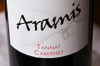 Bottle of Aramis Tannat Cabernet detail of label Madiran France