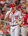 15 August 2017: Washington Nationals outfielder Andrew Stevenson glances up at the scoreboard during a game against the Los Angeles Angels at Nationals Park in Washington, DC. The Nationals defeated the Angels 3-1 in the first game of their 2-game series. Mandatory Credit: Ed Wolfstein Photo *** RAW (NEF) Image File Available ***