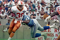 Vernon Turner carries the ball, Detroit Lions at Tampa Bay Buccaneers NFL football game won by Tampa Bay 24-14 at Tampa Stadium, in Tampa , Florida on Sunday October 2, 1994 . (Photo by Brian Cleary/bcpix.com)