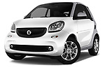 Stock pictures of low aggressive front three quarter view of 2017 Smart Fortwo Passion 2 Door convertible Low Aggressive