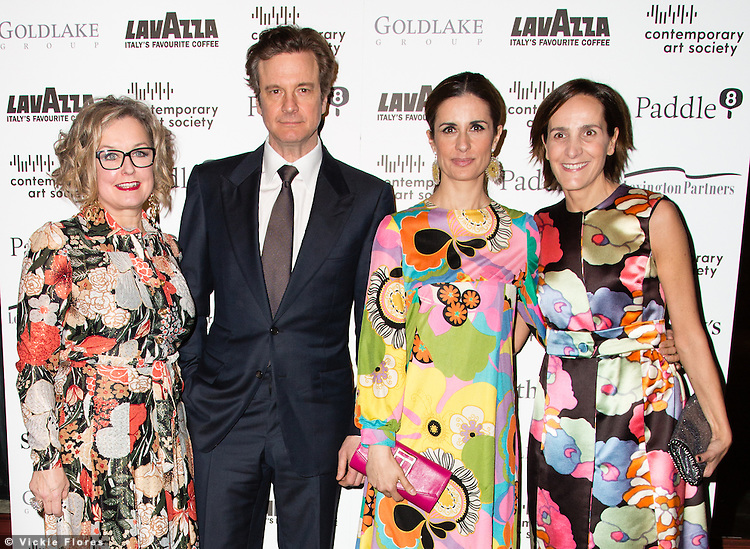 Caroline Douglas, Colin Frith, Livia Giuggoili and guest arrive for the Contemporary Art Society Fundraising Gala at Tobacco Dock in Wapping, East London on March 11, 2014.