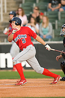Travis D'Arnaud #5 of the Lakewood BlueClaws follows through on his swing versus the Kannapolis Intimidators at Fieldcrest Cannon Stadium May 16, 2009 in Kannapolis, North Carolina. (Photo by Brian Westerholt / Four Seam Images)