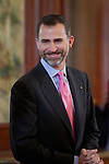 Spain's crown Prince Felipe de Borbon during the closing ceremony of the Spanish German forum. {monthname} {day0}, {year4}. (ALTERPHOTOS/Alvaro Hernandez)