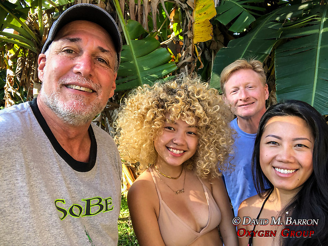 Cottage Neighbors In Hana. Mother and Daughter Agreed To Take Photo With Us Old Guys.  Was An Hour After Missle Strike Warning Alert.