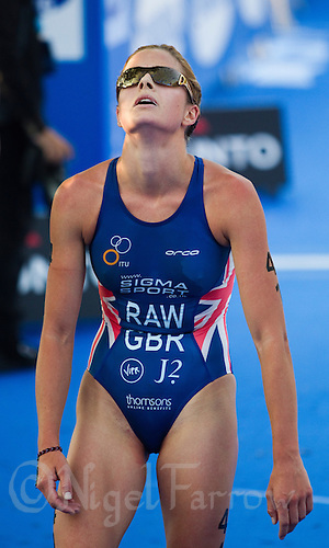 26 MAY 2012 - MADRID, ESP - Vanessa Raw (GBR) of Great Britain  recovers after finishing the elite women's 2012 World Triathlon Series  round at Casa de Campo in Madrid, Spain .(PHOTO (C) 2012 NIGEL FARROW)