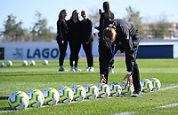 20200310  Lagos , Portugal : illustration picture showing the Danish balls in line prior to the female football game between the national teams of Belgium called the Red Flames and Denmarkl on the third and last matchday for the 5th or 6th place of the Algarve Cup 2020 , a prestigious friendly womensoccer tournament in Portugal , on tuesday 10 th March 2020 in Lagos , Portugal . PHOTO SPORTPIX.BE | DAVID CATRY
