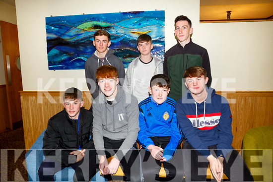 Enjoying the Churchill GAA Awards at Ballyroe Heights Hotel on Sunday were Front Brian Hamilton, Damien Doherty, Micheal Dolan, Edward Stack Back l-r Kievie Finn, Cian Carney and Daniel Guiney