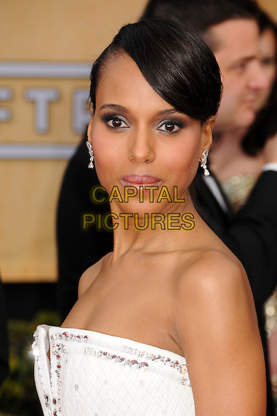 Kerry Washington.Arrivals at the 19th Annual Screen Actors Guild Awards at the Shrine Auditorium in Los Angeles, California, USA..27th January 2013.SAG SAGs headshot portrait strapless white  .CAP/ADM/BP.©Byron Purvis/AdMedia/Capital Pictures
