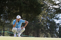 Jack Singh Brar (ENG) lines up his putt on the 2nd hole during second round at the Omega European Masters, Golf Club Crans-sur-Sierre, Crans-Montana, Valais, Switzerland. 30/08/19.<br /> Picture Stefano DiMaria / Golffile.ie<br /> <br /> All photo usage must carry mandatory copyright credit (© Golffile | Stefano DiMaria)
