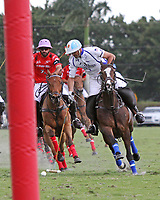 WELLINGTON, FL - MARCH 05: Adolfo Cambiaso of Valiente (white) takes the ball to the goal as Valiente defeats Orchard Hill 14-11, in the 26 goal CV Whitney Cup Final, at the International Polo Club, Palm Beach on March 05, 2017 in Wellington, Florida. (Photo by Liz Lamont/Eclipse Sportswire/Getty Images)