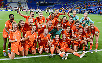 20190703 - LYON , FRANCE : Dutch players pictured celebrating after winning the female soccer game between Netherlands – Oranje Leeuwinnen - and Sweden  , a knock out game in the semi finals of the FIFA Women's  World Championship in France 2019, Wednesday 3 th July 2019 at the Stade de Lyon  Stadium in Lyon  , France .  PHOTO SPORTPIX.BE | DAVID CATRY