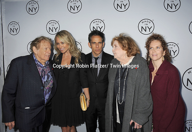 "Jerry Stiller , Christine Taylor, Ben Stiller, Anne Meara and Amy Stiller attend the ""Made in NY""  Awards at Gracie Mansion on June 4, 2012 in New York City."