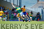 Brian Friel Kerry in action against Fergal Donnellan Clare in the Munster Minor Football Final at Fitzgerald Stadium on Sunday.