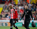 Leon Clarke of Sheffield Utd off injured during the English League One match at  Bramall Lane Stadium, Sheffield. Picture date: April 30th 2017. Pic credit should read: Simon Bellis/Sportimage
