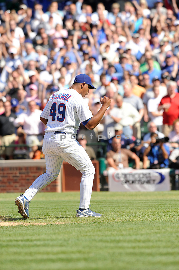 CARLOS MARMOL, of the Chicago Cubs, in action during the Cubs game against the Los Angeles Dodgers at Wrigley Field in Chicago, IL on May 27, 2010.  ..The Cubs won the game 1-0...