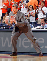 Virginia head coach Tony Bennett reacts to a play during the game Wednesday in Charlottesville, VA. Virginia defeated Tennessee 46-38.