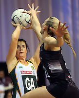 31.08.2016 South Africa's Renske Stolz in action during the Netball Quad Series match between the Silver Ferns and South Africa played at Claudelands Arena in Hamilton. Mandatory Photo Credit ©Michael Bradley.