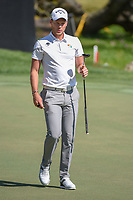 Danny Willett (ENG) watches his putt on 18 during round 1 of the Arnold Palmer Invitational at Bay Hill Golf Club, Bay Hill, Florida. 3/7/2019.<br />