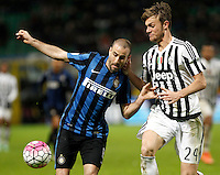 Calcio, Coppa Italia: semifinale di ritorno Inter vs Juventus. Milano, stadio San Siro, 2 marzo 2016. <br /> FC Inter&rsquo;s Rodrigo Palacio, left, is challenged by Juventus&rsquo; Daniele Rugani during the Italian Cup second leg semifinal football match between Inter and Juventus at Milan's San Siro stadium, 2 March 2016.<br /> UPDATE IMAGES PRESS/Isabella Bonotto