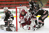 Tim Ernst (Brown - 33), Kyle Criscuolo (Harvard - 11), Joey de Concilys (Brown - 11) - The Harvard University Crimson defeated the Brown University Bears 4-3 to sweep their first round match up in the ECAC playoffs on Saturday, March 7, 2015, at Bright-Landry Hockey Center in Cambridge, Massachusetts.