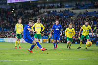 Joe Ralls of Cardiff City sees his second penalty of the night saved by Angus Gunn of Norwich City during the Sky Bet Championship match between Cardiff City and Norwich City at the Cardiff City Stadium, Cardiff, Wales on 1 December 2017. Photo by Mark  Hawkins / PRiME Media Images.
