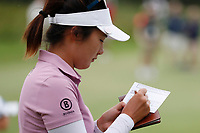 Su Oh (AUS) writes her score on her scorecard on the 18th hole during the final round of the ShopRite LPGA Classic presented by Acer, Seaview Bay Club, Galloway, New Jersey, USA. 6/10/18.<br /> Picture: Golffile | Brian Spurlock<br /> <br /> <br /> All photo usage must carry mandatory copyright credit (&copy; Golffile | Brian Spurlock)