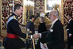 King Felipe VI of Spain meets Colombian Republic Ambassador Alberto Jacobo Furmanski Goldstein at Royal Palace in Madrid, Spain. December 16, 2015. (ALTERPHOTOS/Victor Blanco)