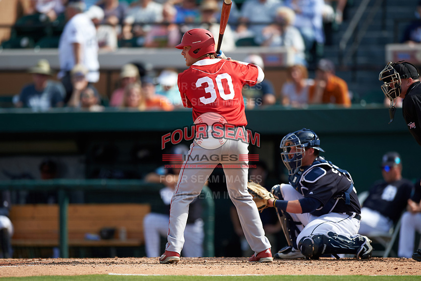 Florida Southern Moccasins pinch hitter Garrett Conner (30) at bat during an exhibition game against the Detroit Tigers on February 29, 2016 at Joker Marchant Stadium in Lakeland, Florida.  Detroit defeated Florida Southern 7-2.  (Mike Janes/Four Seam Images)
