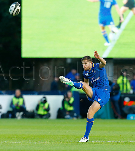 8th September 2017, RDS Arena, Dublin, Ireland; Guinness Pro14 Rugby, Leinster versus Cardiff Blues; Ross Byrne of Leinster kicks off the first half
