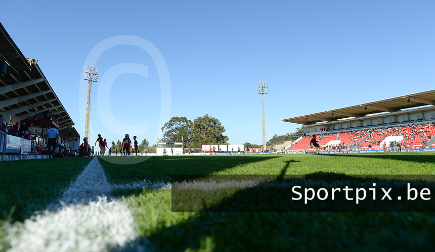 20171024 - PENAFIEL , PORTUGAL :  illustration picture shows the stadium during warming up of  a women's soccer game between Portugal and the Belgian Red Flames , on tuesday 24 October 2017 at Estádio Municipal 25 de Abril in Penafiel. This is the third game for the  Red Flames during the Worldcup 2019 France qualification in group 6. PHOTO SPORTPIX.BE | DAVID CATRY