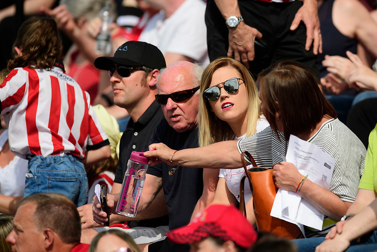 Lincoln City fans enjoy the pre-match atmosphere<br /> <br /> Photographer Chris Vaughan/CameraSport<br /> <br /> The EFL Sky Bet League Two - Lincoln City v Tranmere Rovers - Monday 22nd April 2019 - Sincil Bank - Lincoln<br /> <br /> World Copyright © 2019 CameraSport. All rights reserved. 43 Linden Ave. Countesthorpe. Leicester. England. LE8 5PG - Tel: +44 (0) 116 277 4147 - admin@camerasport.com - www.camerasport.com