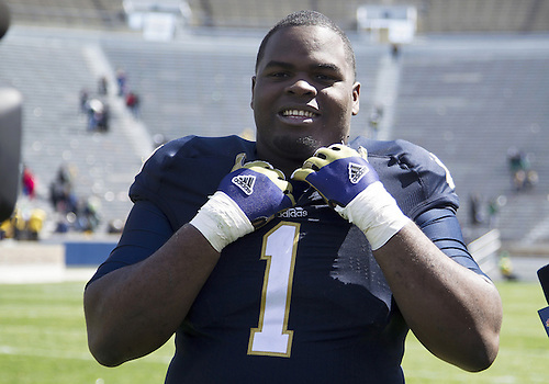 April 20, 2013:  Notre Dame Fighting Irish defensive lineman Louis Nix III (1) is all smiles after the Notre Dame Blue-Gold Spring game at Notre Dame Stadium in South Bend, Indiana.  The Defense topped the Offense by a score of 54-43.