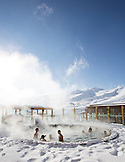 CHILE, Valle Nevado Resort, Hot tub at Hotel Valle Nevado after a snowstorm