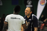 NPGHS coach Trent Adam talks to the referee during the 2014 National Secondary Schools Basketball Championship AA girls' semifinal between New Plymouth Girls' High School and St Peter's College Cambridge at Arena Manawatu, Palmerston North, New Zealand on Friday, 3 October 2014. Photo: Dave Lintott / lintottphoto.co.nz